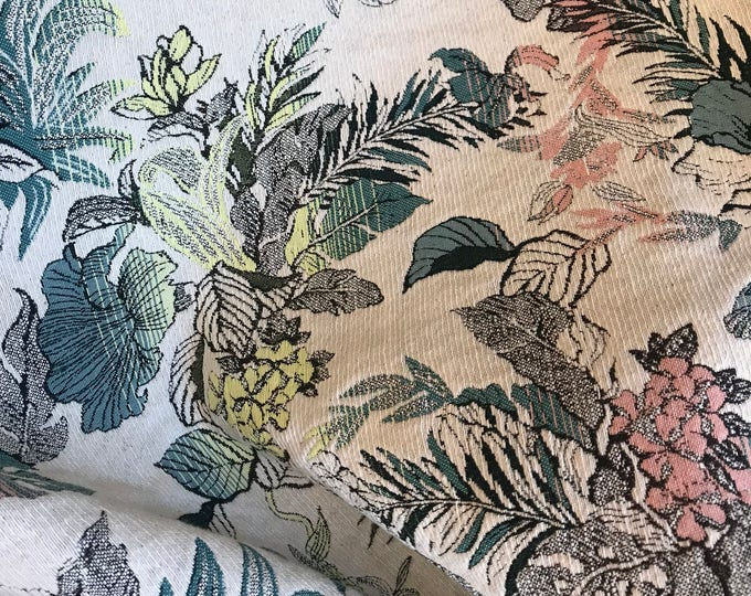 French Brocade: Millennial Pink, Teal, and Lime on Natural