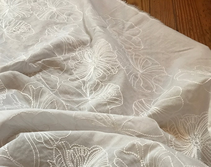 Embroidered Floral Cotton Lawn in White