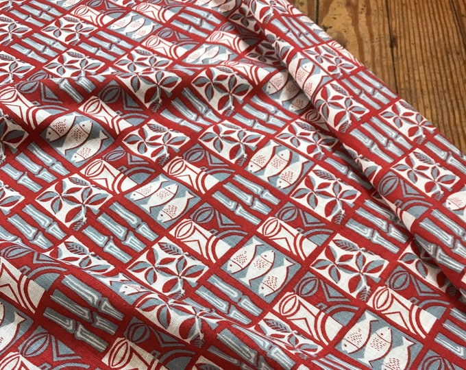 Fish Print Cotton Lawn in Red, White, Blue