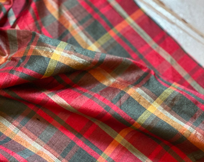 Red and Green Plaid Silk