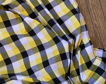 Black and Gold Plaid Cotton Lycra Blend