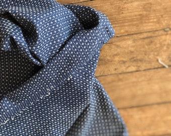 Boro Woven in Dark Indigo with White Cross Stitch by Moda Fabrics