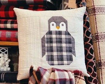 Pillow Cover Sewing KIT: Penguin Party by Elizabeth Hartman with Flannel and Cotton