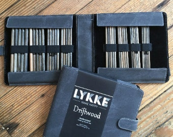 "Lykke - 6"" Double-Pointed Knitting Needle Set (Sizes US 6-13) - Grey Denim Case"