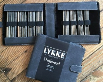 "Lykke - 6"" Double-Pointed Knitting Needle Set (Sizes US 0-5) - Grey Denim Case"