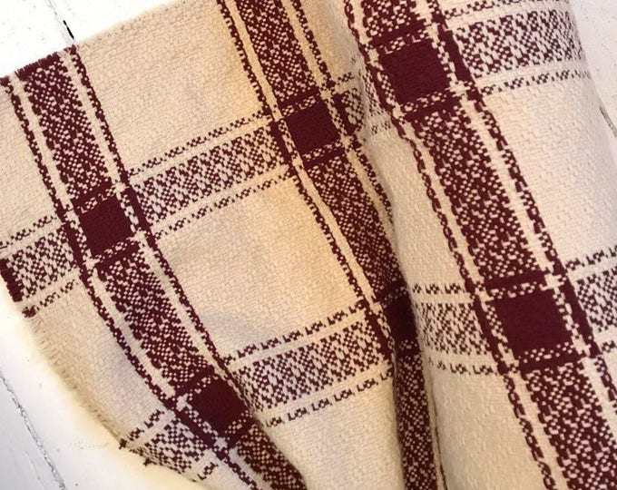 Malbec and Cream Woven Windowpane Plaid Wool Blend