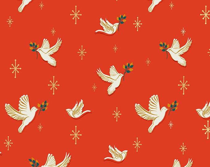 Doves in Poinsettia from the Candlelight Prints Collection from Ruby Star Society