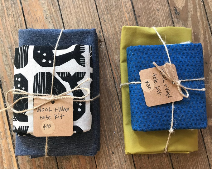 Wool + Wax Tote Kit: Cotton + Steel Canvas w/ Waxed Canvas