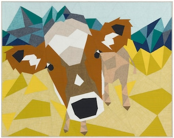 The COW ABSTRACTIONS quilt Paper Pattern from Violet Craft