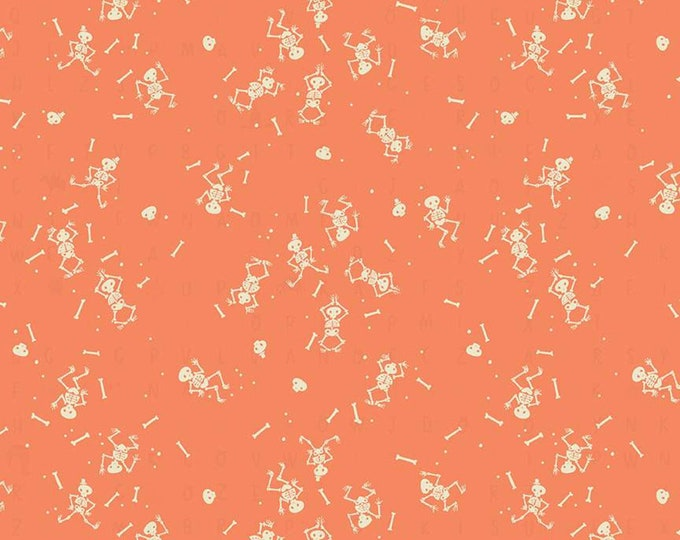 Skeletons in Orange from the Tiny Treaters Collection by Riley Blake Designs