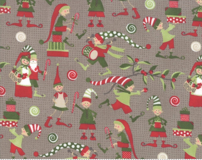 Elfin Around in Stone from the Naughty or Nice Collection by Moda Fabrics