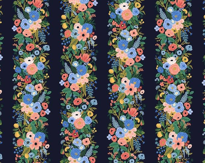 Garden Party Vines in Blue Rayon for Wildwood Collection by Rifle Paper Co.