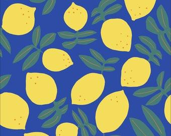 Lemons on Repeat Matte Laminate in Royal Blue for Cloud 9 Fabric