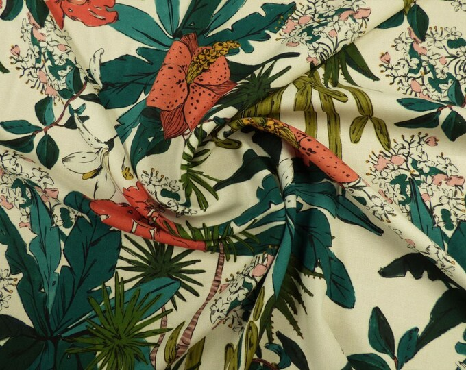 Floridian Narciso in Cream Viscose Challis Lawn
