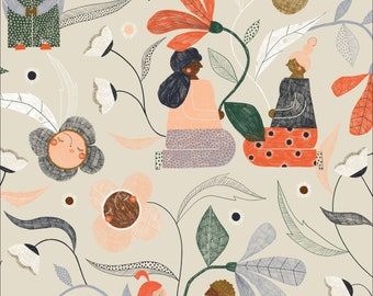 Garden Gather 100% Organic Cotton from the Bloom Together Collection by Meenal Patel  for Cloud 9 - 1/2 YARD