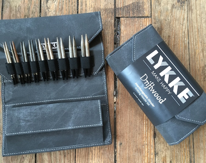 "Lykke - 3.5"" Interchangeable Knitting Needle Set - Grey Denim Case"