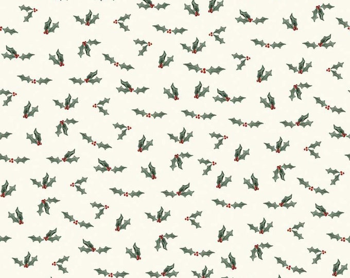 Holly Berry in Cream from the Farmhouse Christmas Collection for Riley Blake Designs