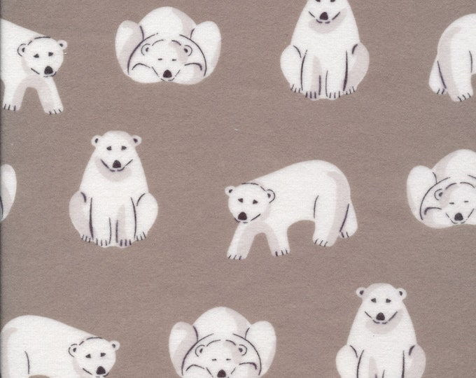 Polar Bears in Gray FLANNEL from the Northerly Collection by Cloud 9 Fabrics
