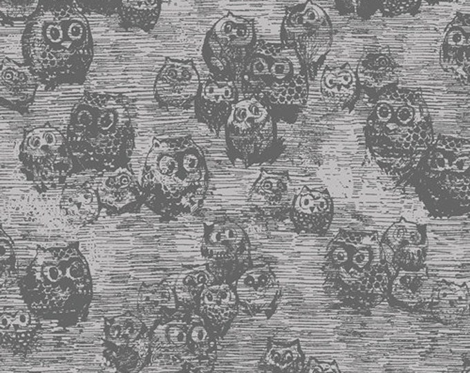 Owly Boo Knit in Gray from Wonderland by Katarina Roccella for Art Gallery Fabrics