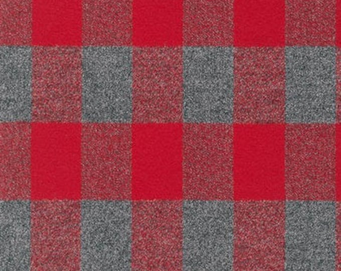 Mammoth Flannel in Red and Grey by Robert Kaufman