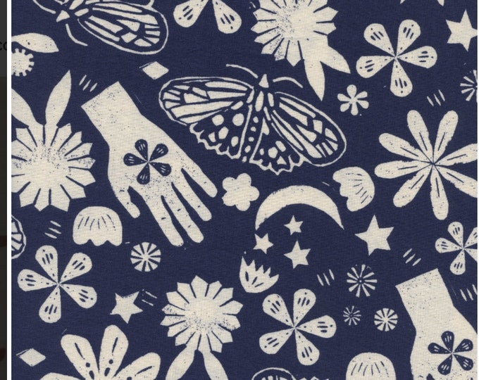 PRESALE: Dream (in Indigo) from Moonrise by Alexia Abegg for Cotton + Steel Unbleached Cotton Fabric