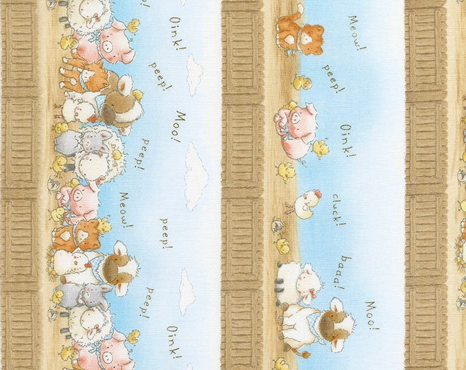 Farm Stripe in Sky- Cotton Tail Farm from Bunnies by the Bay- Timeless Treasures Fabric