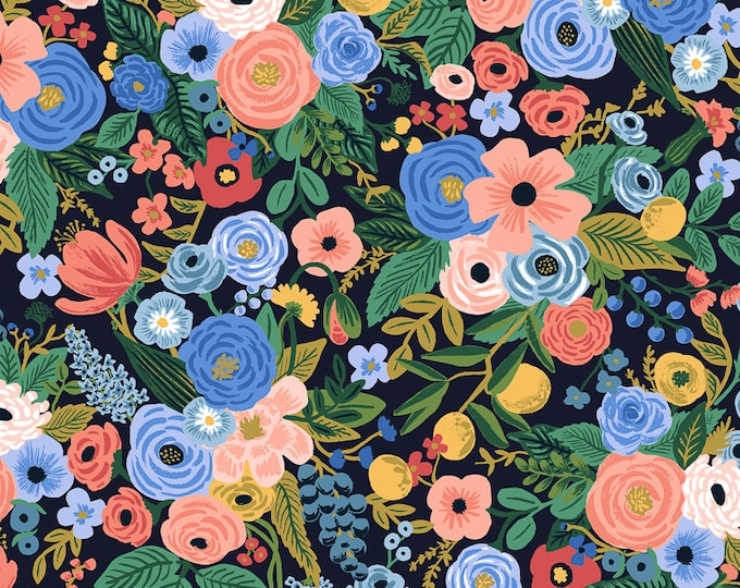 PRESALE: Garden Party in Navy Rayon for Wildwood Collection by Rifle Paper Co.
