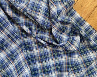 100% Italian Cotton Woven Plaid in Blue