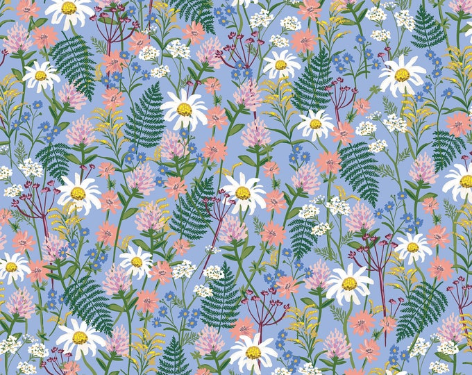 PRESALE: Wildflowers in Periwinkle Lawn for Wildwood Collection by Rifle Paper Co.