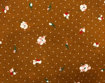 Flower Polka Dot on Caramel - Cotton Lawn by HOKKOH