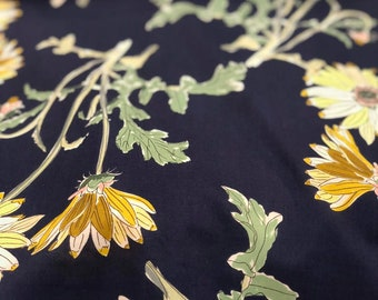 Gold Mums on Navy - 100% Cotton Lawn by HOKKOH