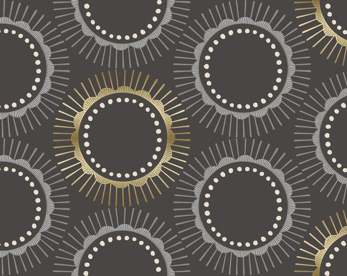 Tara - Charcoal Metallic Fabric from Kibori by Cotton + Steel