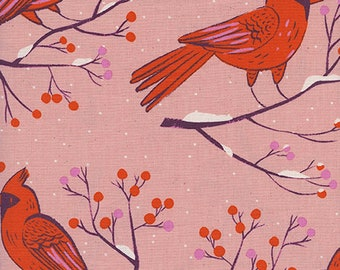 Winter Cardinals in Pink by Sarah Watts for Cotton + Steel