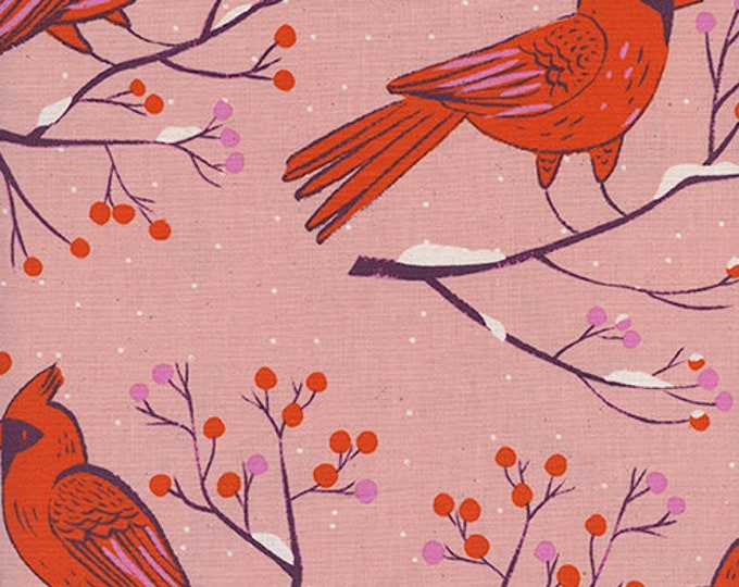 PRESALE: Winter Cardinals in Pink by Sarah Watts for Cotton + Steel
