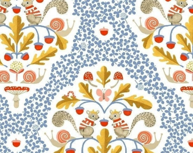 Squirrel Damas in White from Sweet Oak by Striped Pear Studio for Windham Fabrics