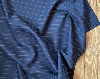 100% Silk Pinstripe in Navy