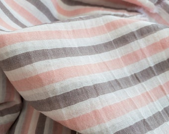 100% Cotton Stripe in Pink + Gray