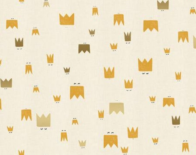 Royal Folk in Straw Unbleached Metallic Cotton Fabric from the Dear Friends Collection for Cotton + Steel
