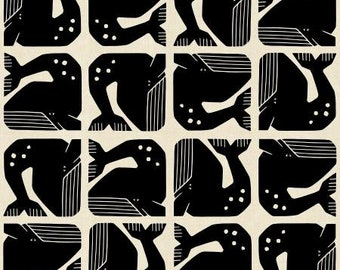 Grumpy Whale in Night Sky Canvas Fabric from the By the Seaside Collection for Cotton + Steel