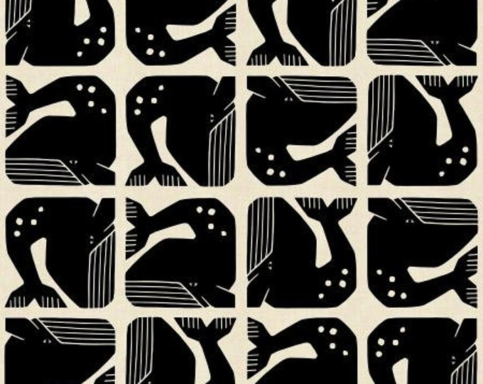 Grumpy Whale in Black Unbleached Fabric from the By the Seaside Collection for Cotton + Steel