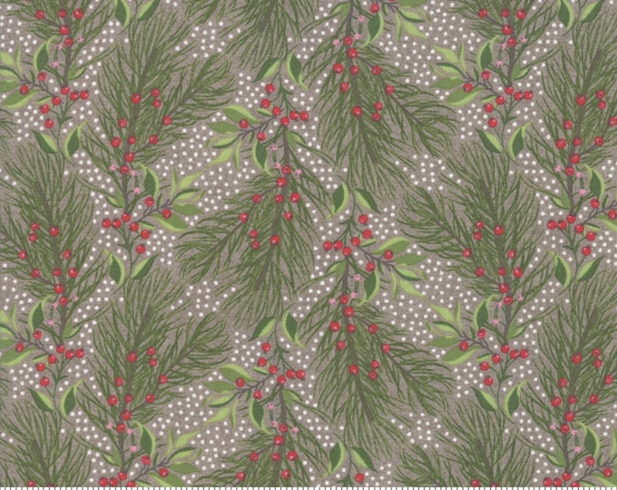 Pine Bough in Stone from the Naughty or Nice Collection by Moda Fabrics