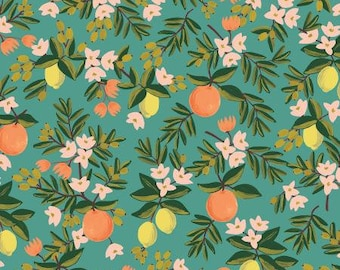PRE SALE: Citrus Floral in Teal Fabric from Primavera by Rifle Paper Company