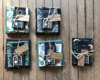 Wool + Wax Tote Kit: Rifle Paper Fabric and Oil Cloth with Leather Straps