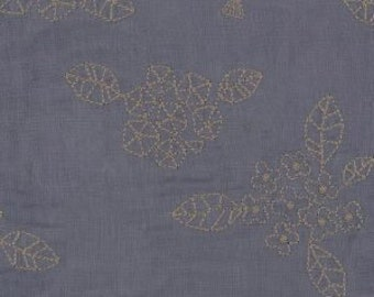 Double Gauze Grey Blue with Embroidered Floral Pattern