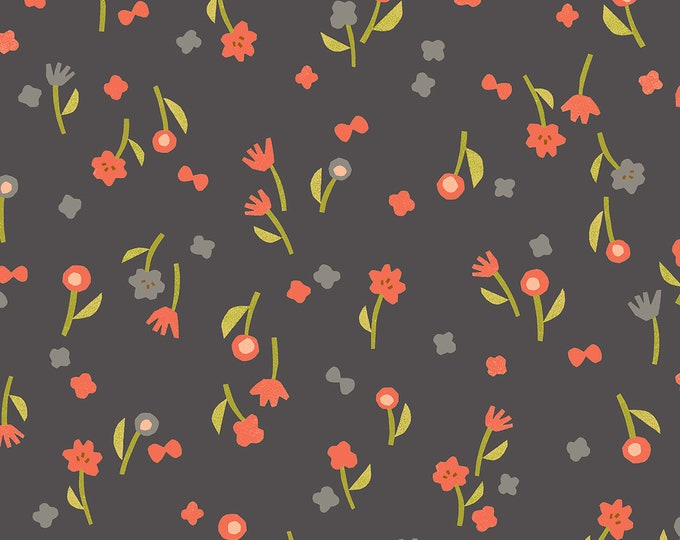 PRESALE: Flower Picking in Charcoal for the Nori + Tori Collection by Cotton + Steel