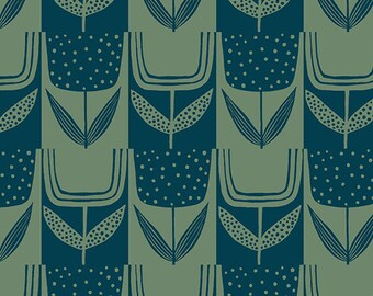 Patchwork Tulip in Bottle Green from the Perennial Collection by Sarah Golden for Andover