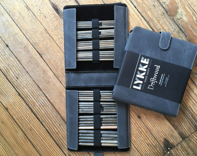 """Lykke - 6"""" Double-Pointed Knitting Needle Set (Sizes US 6-13) - Grey Denim Case"""