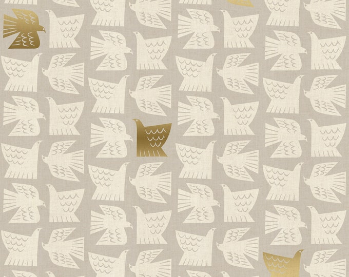 Paper Birds - Gray Unbleached Metallic Fabric from Kibori by Cotton + Steel