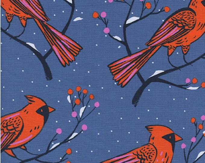 Winter Cardinals in Blue by Sarah Watts for Cotton + Steel