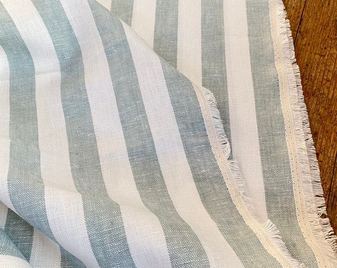 Wide Stripe in Blue and White 100% Linen